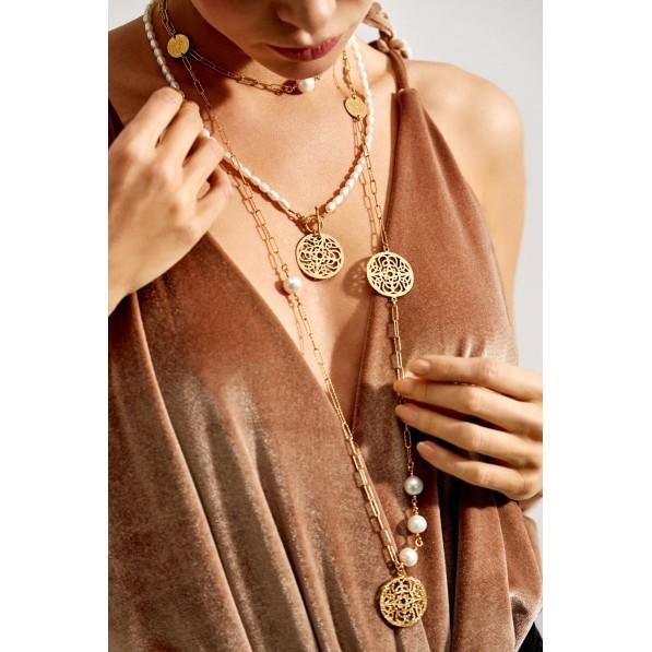 Pearl necklace with rosette Mokobelle
