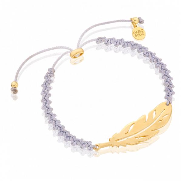 Braided bracelet with cross feather pendant