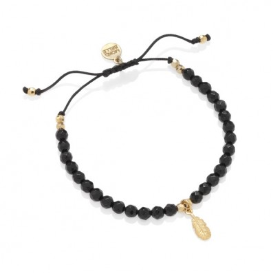 ONYXES BRACELET WITH FEATHER