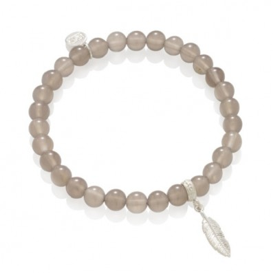 GREY AGATS BRACELET WITH...
