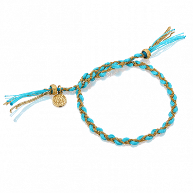 Błękitna bransoletka warkoczyk royal