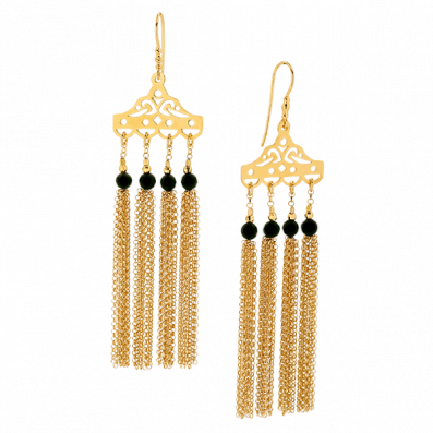 Gold-plated earrings with onyxes and tassels