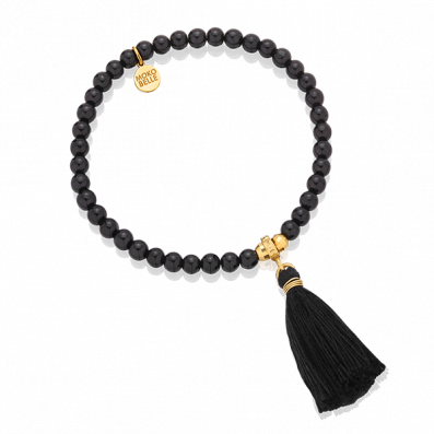 Matt onyx bracelet with gold beads and tassel