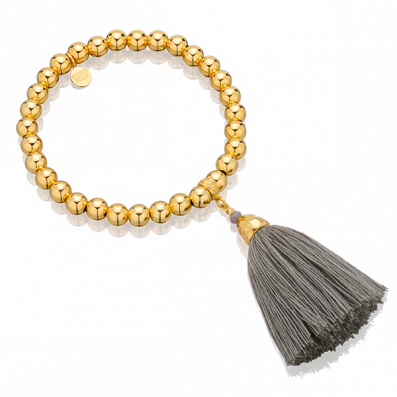 Gold-plated beaded bracelet with grey tassel