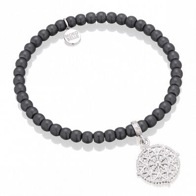 Hematites bracelet with Emma rosette