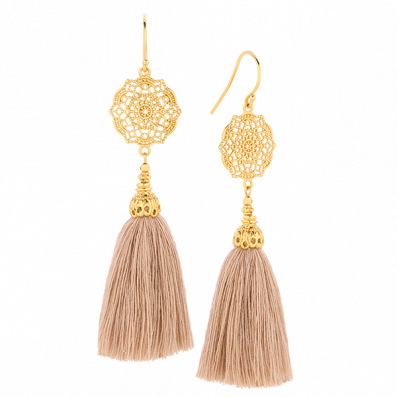 EARRINGS WITH ESTELLA ROSETTE AND TASSEL