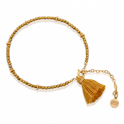 Golden hematites bracelet with tassel