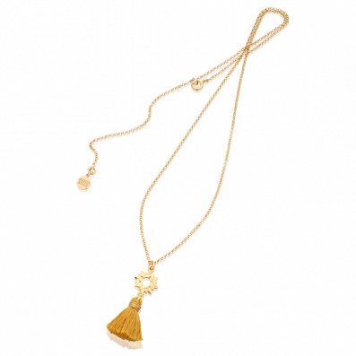Necklace with sun pendant and tassel