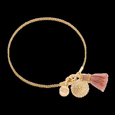 Bracelet with Bianca rosette and pink tassel