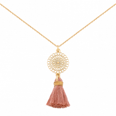 Necklace with Bianca rosette and pink tassel