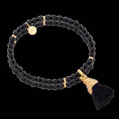 Onyx stones bracelet with tassel