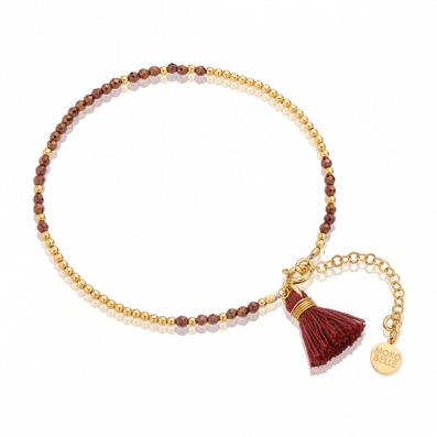 Brown hematites bracelet with beads and tassel
