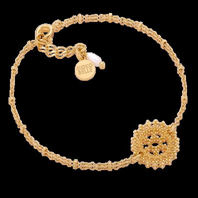 Bransoletka łańcuszek z rozetą królewską i perłą