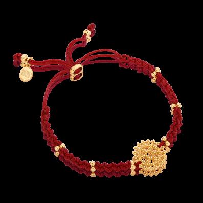 Bransoletka sznureczek bordo z rozetą królewską