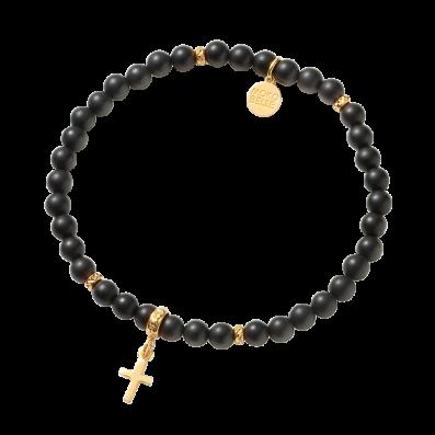 Onyx stones bracelet with cross pendant