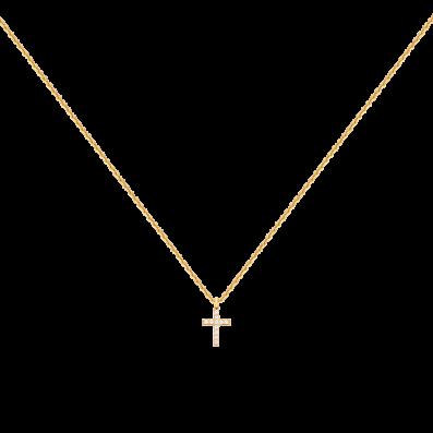 Necklace with cross and white zirconium