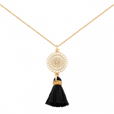 Necklace with Bianca rosette and black tassel
