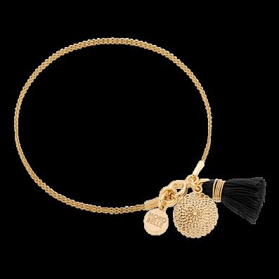 Bracelet with Bianca rosette and black tassel