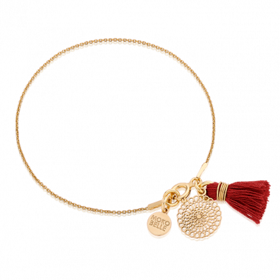 Bracelet with Bianca rosette and red tassel