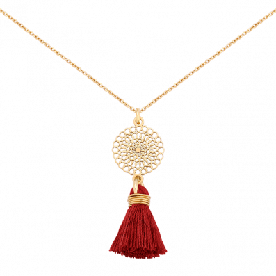 Necklace with Bianca rosette and red tassel