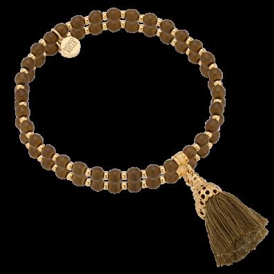 Olive green hematites bracelet with royal tassel