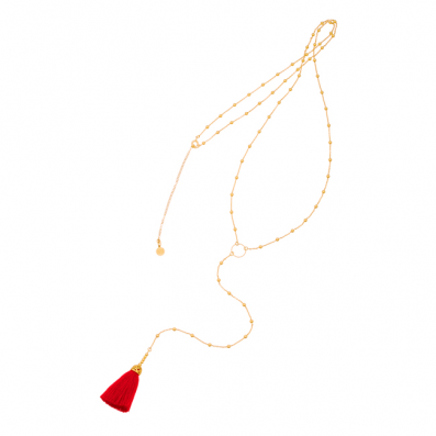 NECKLACE WITH CIRCLE AND RED TASSEL