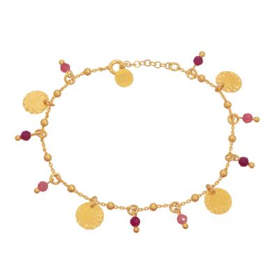 Bransoletka z rubinami, turmalinami i blaszkami