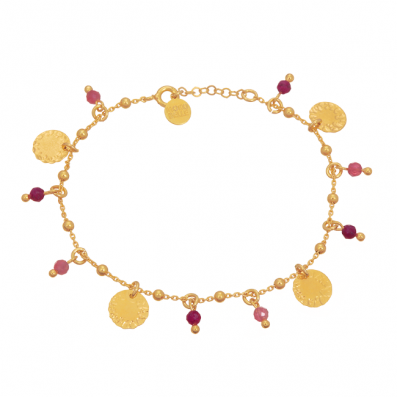 Chain bracelet with rubies, tourmalines and medallions