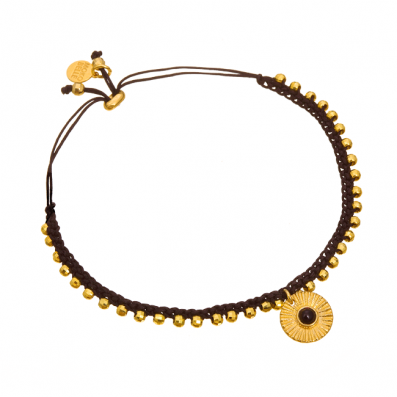 Bransoletka sznureczek z medalionem z onyksem
