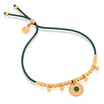 Green thread bracelet with medallion and malachite