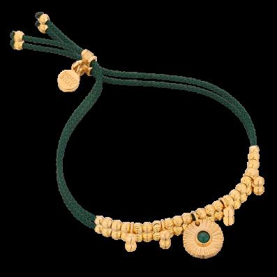 Bransoletka sznureczek z medalionem i malachitem