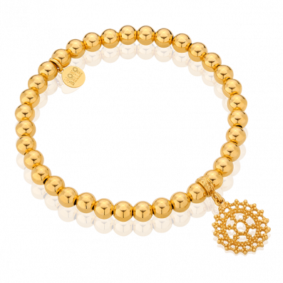 Gold-plated beaded bracelet with Royal rosette
