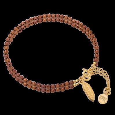Bransoletka z brązowych hematytów z piórkiem
