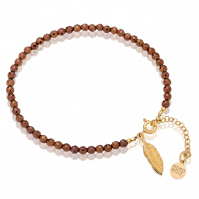 Brown hematites bracelet with feather