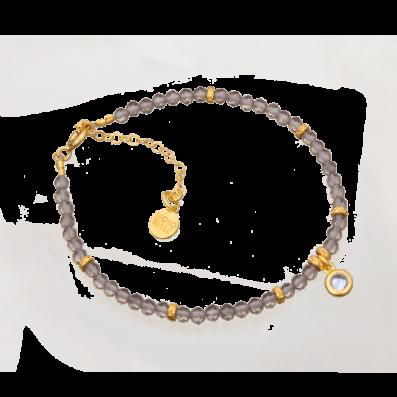 Bransoletka z kwarców dymnych z cyrkonią