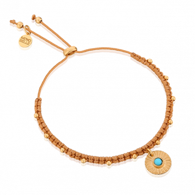Cinnamon thread bracelet with medallion and turquoise