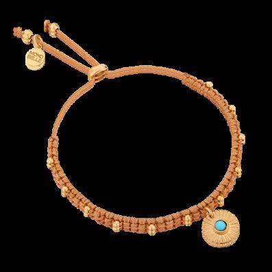 Cynamonowa plecionka z medalionem z turkusem