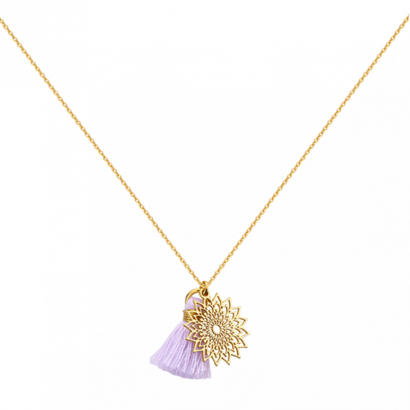 Necklace with crown chakra and tassel