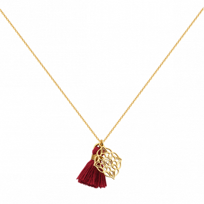 Necklace with root chakra and tassel