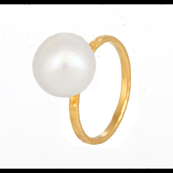 Pierścionek z perłą naturalną