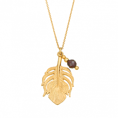 Necklace with feather and grenade
