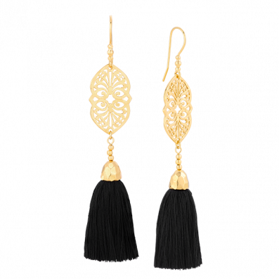 Valentina earrings with black tassel