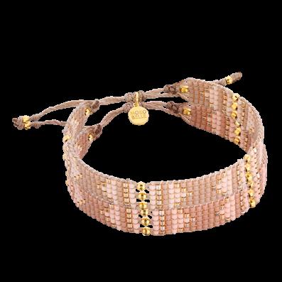 Nude woven beaded bracelet