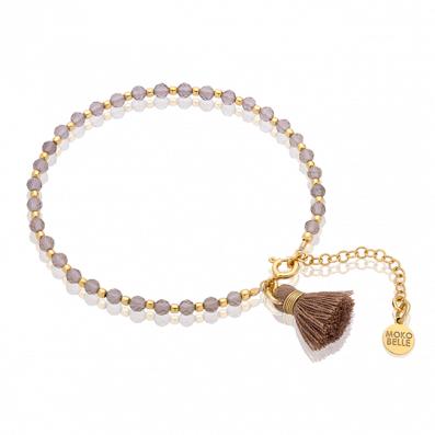 Quartz stones bracelet with mocca tassel