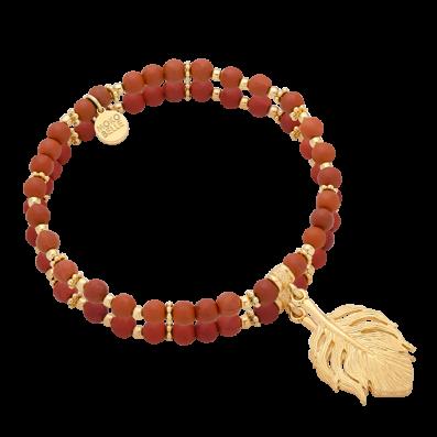 Jasper stones bracelet with feather