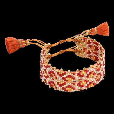 Czerwono-beżowa plecionka z koralików z chwostami