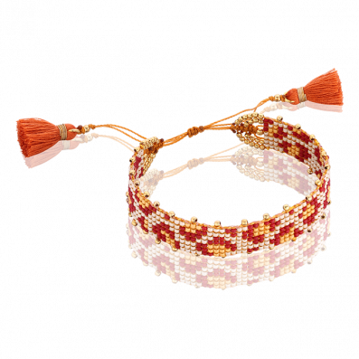 Red and beige woven beaded bracelet