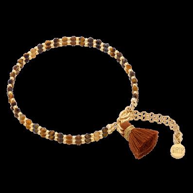 Tiger eye's stones bracelet with tassel