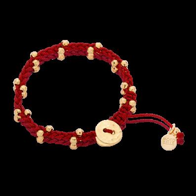 Bordowa bransoletka warkoczyk z guzikiem