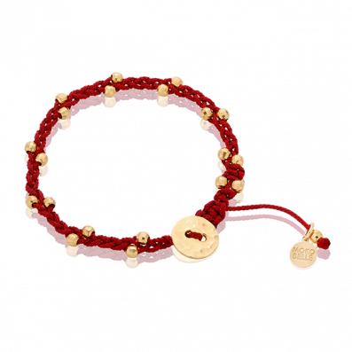 Woven beaded bracelet with gilded beads